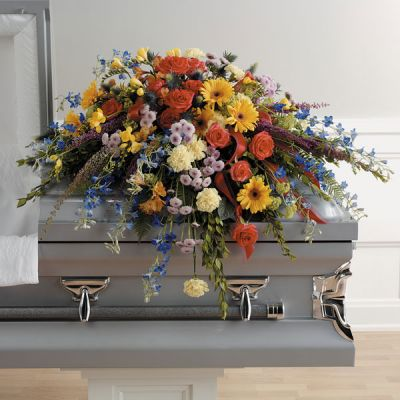 Colourful Memories Casket Spray